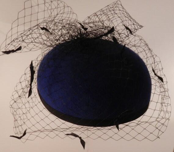 ec00e150d1f Wool felt pill box pillbox hat with black satin ribbon bow