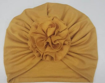 Turban- baby and kids hat- Bamboo jersey- Mustard
