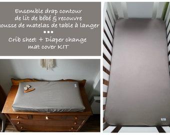 KIT : Crib sheet + Diaper change mat cover- TAUPE