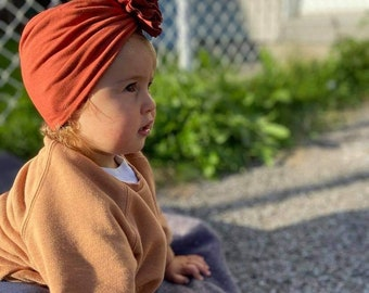 Turban- baby and kids hat- Bamboo jersey- Terracotta
