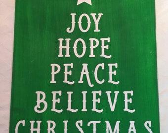 Wood Christmas Sign - 11x16 - Joy, Hope, Peace, Believe, Christmas