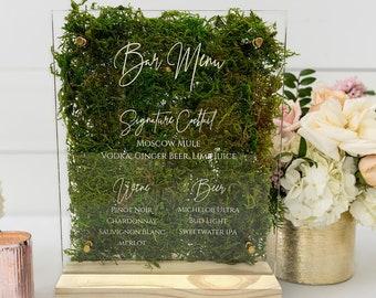 Wedding Bar Menu   Acrylic Wedding Sign   Modern Wedding Sign    Custom Acrylic Sign