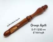 Hand-turned Orange Agate Ergonomic Exotic Hardwood Wood Crochet Hook Sz P 12.50 mm