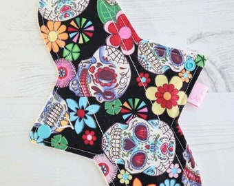 """Cloth Pad   Reusable Cloth Pads   Cloth Menstrual Pad   Cloth Sanitary Pad   Reusable   Period Pad   10"""" Light Flow   Day of the Dead Black"""