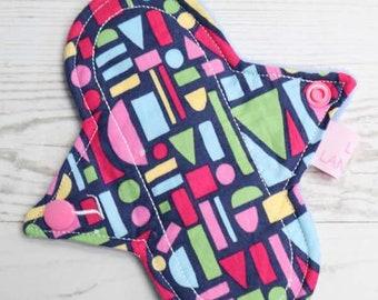 "Cloth Pad   Reusable Cloth Pads   Cloth Menstrual Pad   Cloth Sanitary Pad   Reusable Pad   Period Pad   6"" Light Flow   Geometric Shapes"