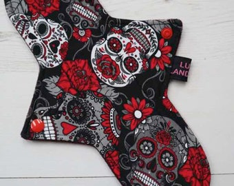 """Reusable Cloth Pads    11"""" Regular Flow   Day of the Dead"""