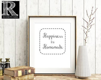 Printable Instant Download Farmhouse Printable Farmhouse Style Decor HOME Wall Art Typography Print Happiness is Homemade Portrait Print