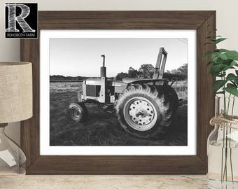 Printable Instant Download Black and White John Deere Tractor Vintage Tractor Photo Farm Photography Tractor Print Boys Country Room