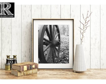 Printable Instant Download rustic décor print rustic wall art farm art Civil War Cannon Wheel Black and White Printable Historical Print