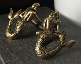 Nautical Christmas Gifts for Men - Mens Stocking Stuffers for Men - Mermaid Cufflinks - Gold Cufflinks for Men - Beach Wedding Groomsmen