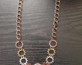 Gear Steampunk Necklace, Steampunk Jewelry Necklace, Steampunk Necklaces, Gear Necklace