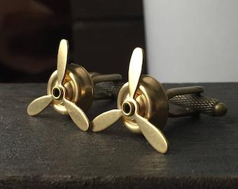 Brass Gold Aviation Steampunk Cufflinks Mens Gift - Propeller Cuff Links Gold Gift for Him - Mens Accessories Airplane Propeller Cuff Links