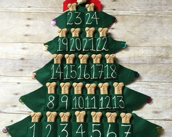 Pet Treat Advent Calendar, Felt Christmas Tree, Magnet, 25 Days of Christmas, Pet Love Gift, Dog Christmas Gift, Countdown to Christmas