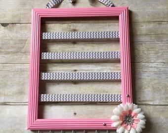 Baby Pink and Gray Chevron hair bow holder, pink and Grey nursery decor, hair accessories organizer, jewelry storage, headband holder, frame