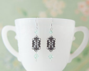Edwardian Style Filigree Earrings with Pale Green (Chrysolite) Swarovski Crystals