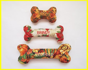 Personalized Holiday Dog Toy with Squeakers - Fall & Christmas Quilt Designs - Small, Medium and Large Sizes