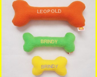 Personalized Dog Toy with Squeakers - Fleece - Solid Colors- Small, Medium and Large Sizes