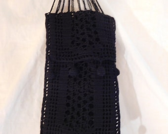 Vintage Satchet Bag Hanging Jewelry Pouch Black Crotcheted Bag