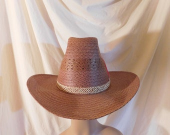 8c262b4905cb2 Vintage Cowboy Hat Straw Cowboy Hat Feather Accent Straw Pug