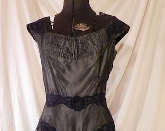 a5b95257ceecb Vintage Black Lace Stiletto Pumps Miles Fifth Avenue Fashions | Etsy