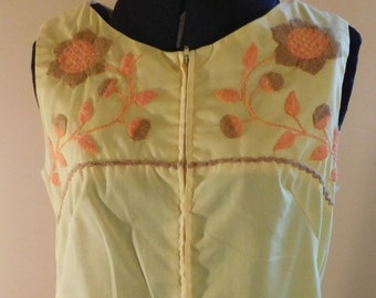 Vintage Cotton Smock Dress Lisa Smock by Lisanne Yellow Cotton Dress Embroidery