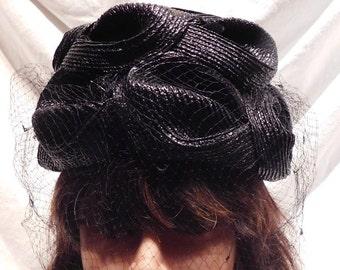 c1099c0ed88 Vintage Hat Black Cloche Shiny Black Raffia with Netting by Mr Morton G