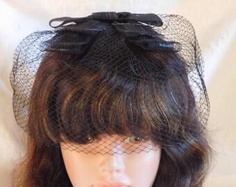 e994a98ebed Vintage Whimsy Hat Netting Veil Hat Black Mini Hat 1950s Veil