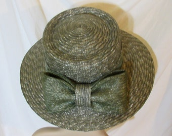 4000aa2a945d4 Betmar New York Straw Hat Straw Bow Wide Brim Straw Hat Green Straw Hat
