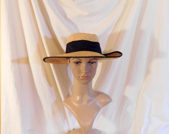 Vintage Straw Hat Black Grossgrain Ribbon And Bow Wide Brim Straw Hat d52c000a6ede