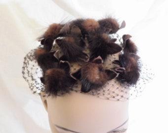 d5e232a8721 Vintage Mr John Caprice Whimsy Mink Whimsy Brown Veil Mini Hat Fascinator