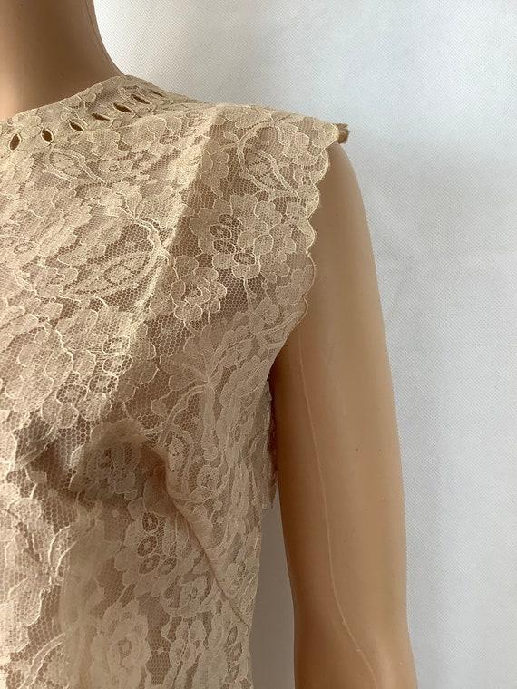 Vintage Lace Blouse Antique Lace Sleeveless Top - image 3