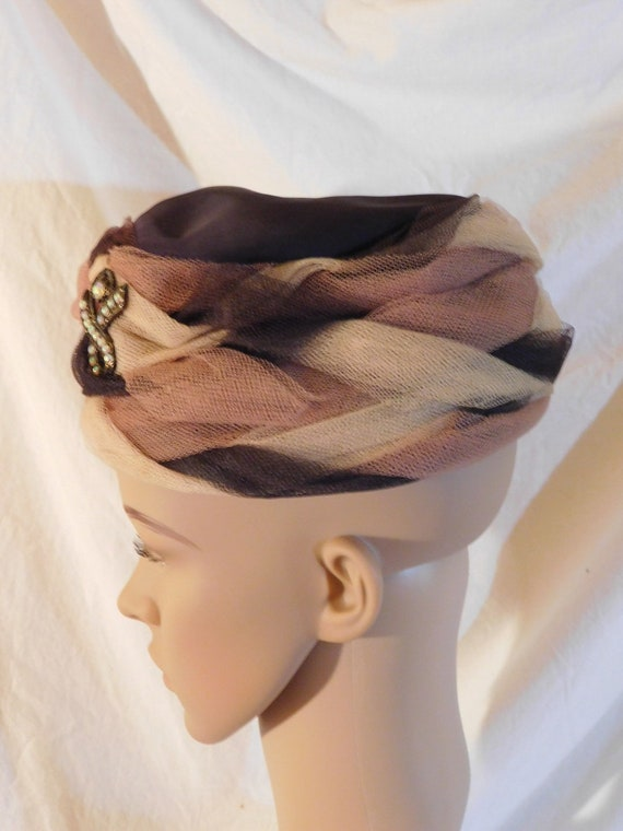 Vintage Bucket Hat Light Brown Dark Brown Netting… - image 5
