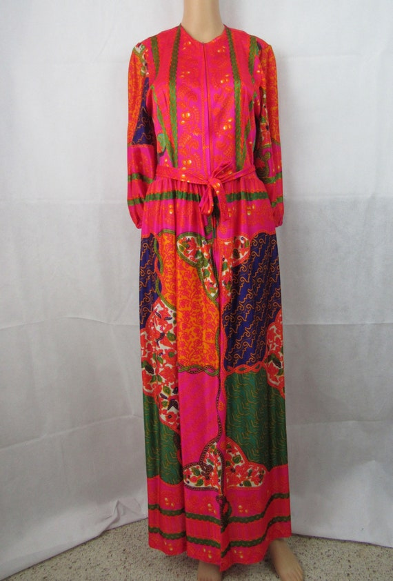 Vintage Maxi Dress 1960s 1970s Loungewear DeWeese