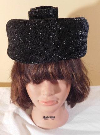 Vintage Hat Black Lurex by Renee Cloche
