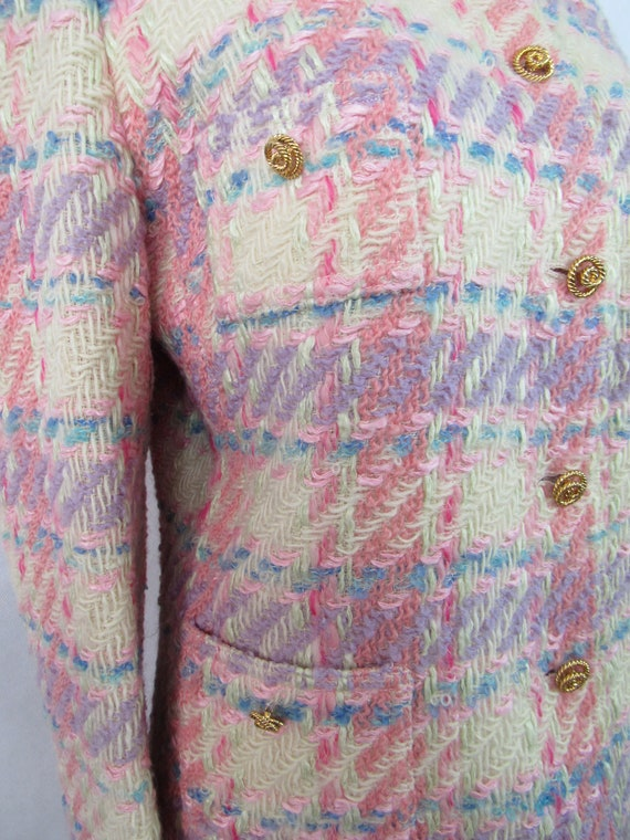 Vintage Pink Plaid Wool Suit Richard Carriere For… - image 6