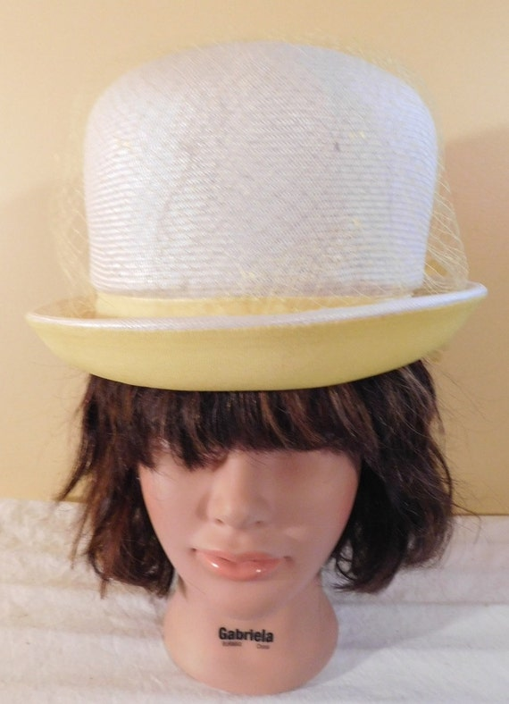 Vintage Hat White Bucket Hat Yellow Brim Yellow Netting  c7f2da31974b