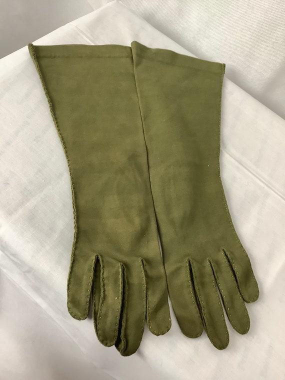 Vintage Gloves Olive Green gauntlet Gloves Opera … - image 1
