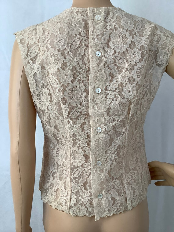 Vintage Lace Blouse Antique Lace Sleeveless Top - image 7