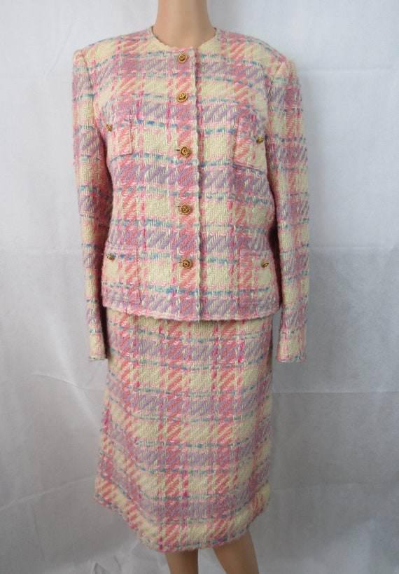 Vintage Pink Plaid Wool Suit Richard Carriere For