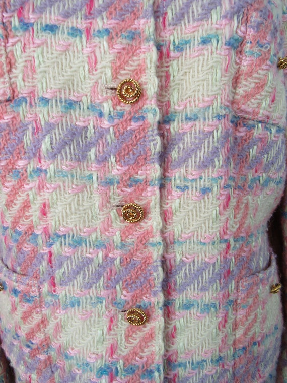 Vintage Pink Plaid Wool Suit Richard Carriere For… - image 5