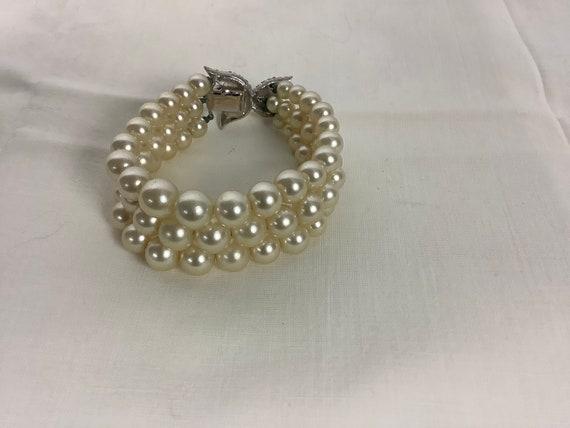 Vintage Marvella Pearl Bracelet Three Strand Pear… - image 2