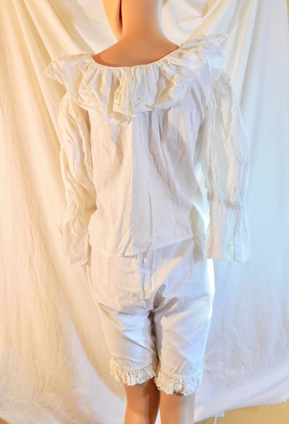 Vintage Bloomers White Cotton Bloomers Lace Bloom… - image 4