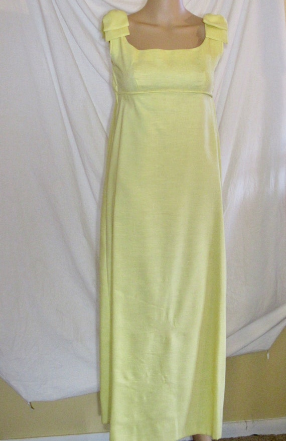 Vintage Evening Gown Yellow Bridesmaid Gown Empire