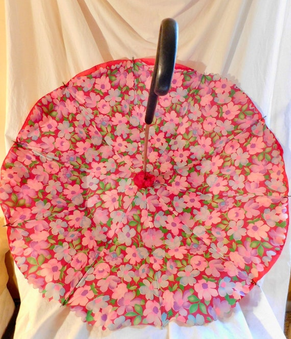 Vintage Umbrella Red Umbrella Pink Floral Umbrella