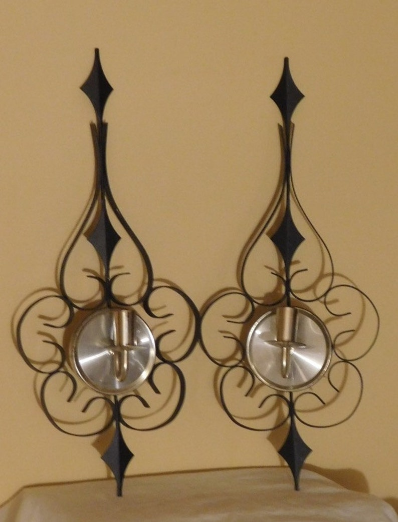 Vintage Wall Sconces Candle Holders Black Metal Gold Candle Etsy