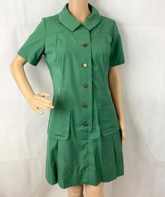 Vintage Girl Scout Uniform Green Dress Girl Scout