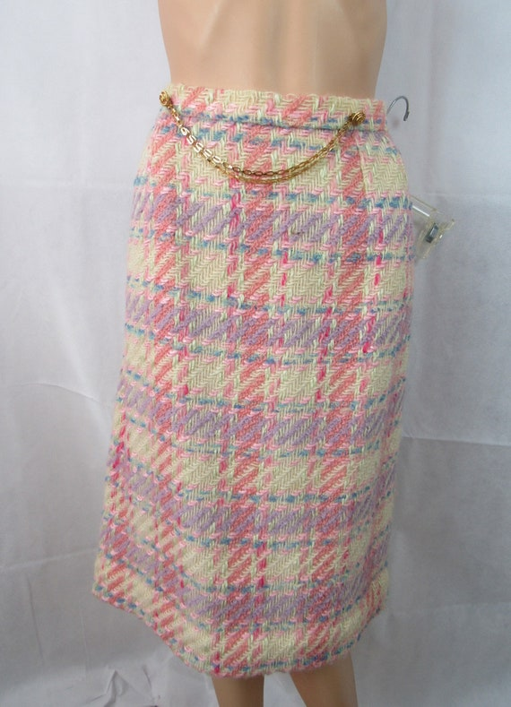Vintage Pink Plaid Wool Suit Richard Carriere For… - image 3