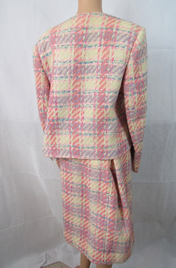 Vintage Pink Plaid Wool Suit Richard Carriere For… - image 2