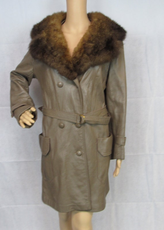 Vintage Leather Trench Coat Fur Collar Belted Tren
