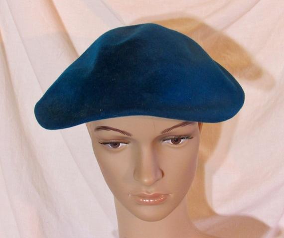 Vintage Hat Teal Blue Beret Blue Tilt Hat 1950s T… - image 5